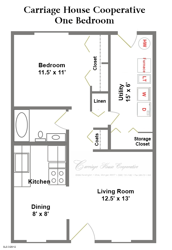 Floor plans carriage house cooperative for 1 bed 1 bath house plans