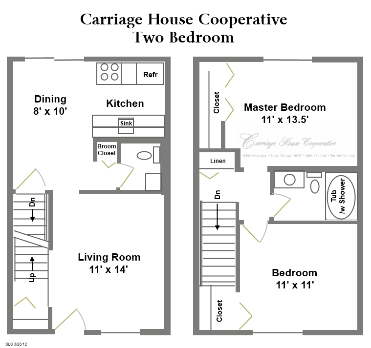 Floor plans carriage house cooperative Two bedroom house plans with basement